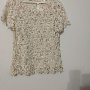 Adiva Crochet Ivory Cream Boho Top Size L